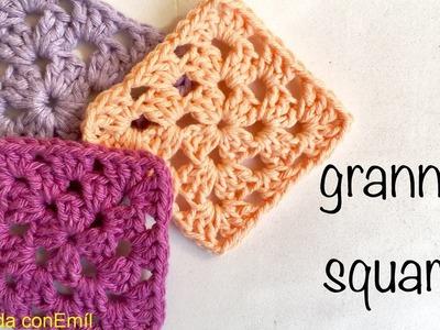 Básico Granny a crochet para principiantes tejer y unir paso a paso