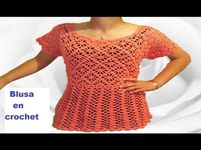 Blusa tejida a crochet paso a paso.  parte 1
