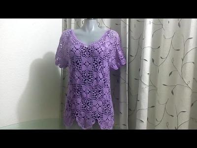 Blusa uva tejida en piezas a crochet