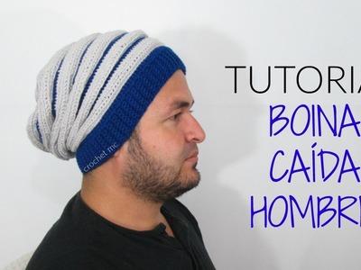 Boina caída hombre a crochet. tutorial