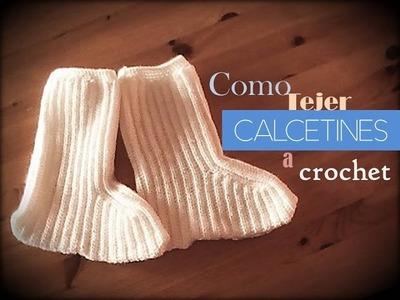 CALCETINES a crochet: como tejer paso a paso (zurdo)