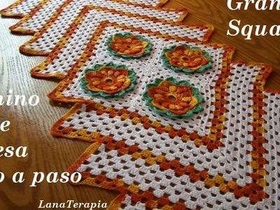Camino de mesa: Granny Square part. 2. LanaTerapia-Crochet