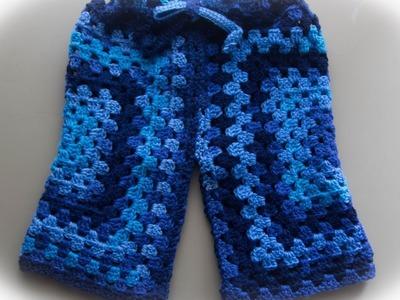Como hacer pantalón de niño con dos cuadros a crochet.