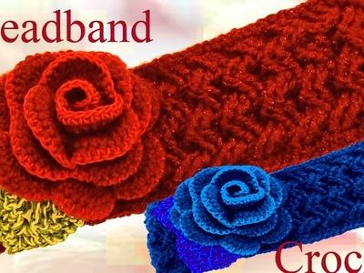 Como tejer a Crochet una diadema o bandana en punto entrecruzado u cesta - Crochet headband