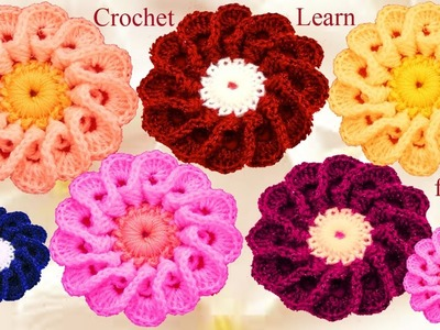 Flores a crochet con pétalos entrecruzados - How to flower Crochet