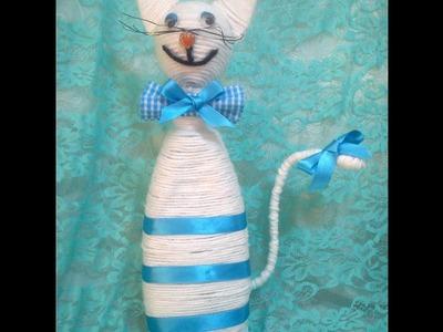Gato hecho con envase de shampoo. DIY. How to make a cat with a shampoo bottle