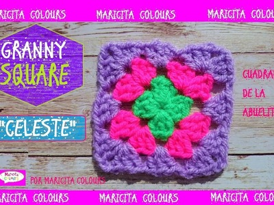 """Granny Square Fácil a Crochet """"Celeste"""" por Maricita Colours"""
