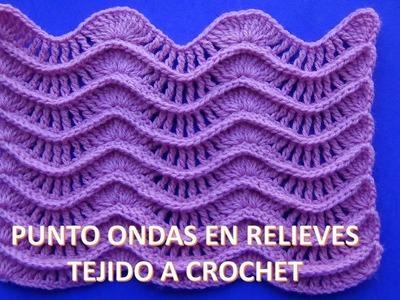 PARA ZURDOS Punto a crochet Ondas en Relieves para suéteres y cobijas de bebe paso a paso