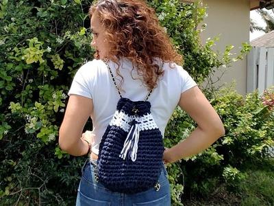 Preciosa bolsa mochila a crochet