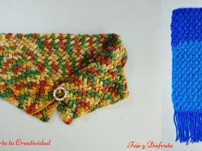 Punto puff en zig zag a crochet para hacer bufanda larga, paso a paso