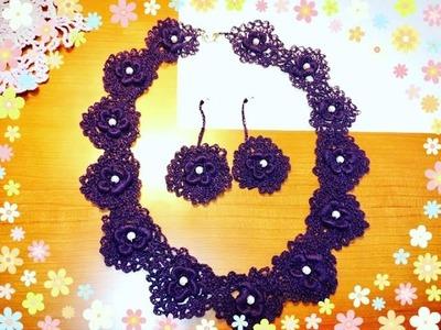 Tutorial Collar y Pendientes ( Aretes ) a juego con Encaje a Crochet paso a paso ????????