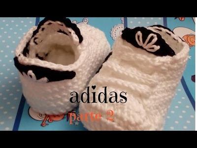 Zapatito adidas tejido a crochet segunda parte