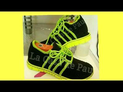 Zapatos tejidos a crochet  para hombre PARTE 3 zapatos tejidos para caballero