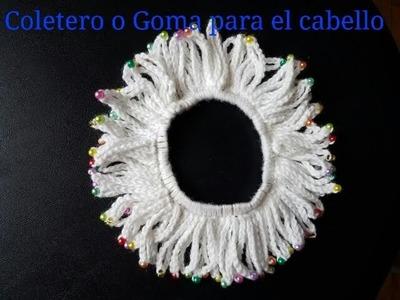 Coletero o Goma para el cabello a crochet. Crochet hair Scrunchie.