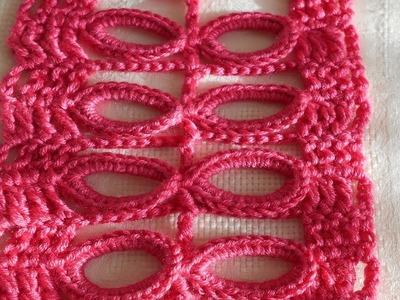 Como hacer Punto fantasía aros y.o hojas en crochet fácil y rápido paso a paso, crochet viral