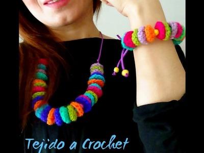 Conjunto de accesorios a Crochet - Collar & Brasalete!!
