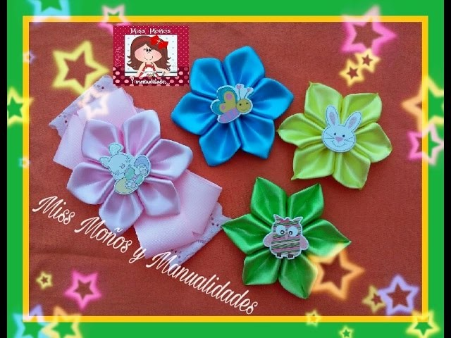 DIY Flor Pétalos Doblados#4 (HAIR RIBBON FLOWER)