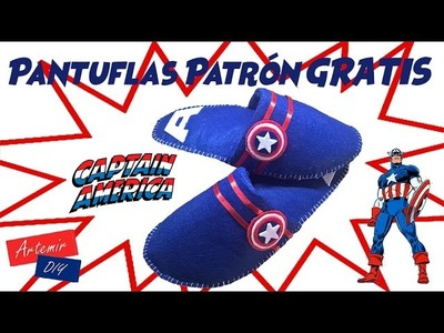 Pantuflas Capitan America Patrón GRATIS Hombre y Mujer - Regalos Originales DIY