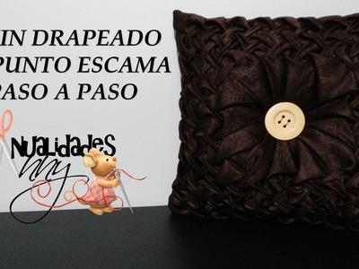 CLASE V - COJIN DRAPEADO EN ESCAMA PUNTO CAPITONE PASO A PASO | Manualidades Anny