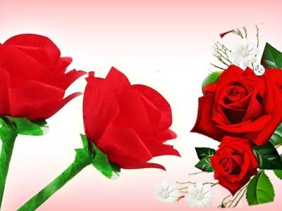 Cómo hacer rosas de papel crepe fáciles - Manualidades de Lina