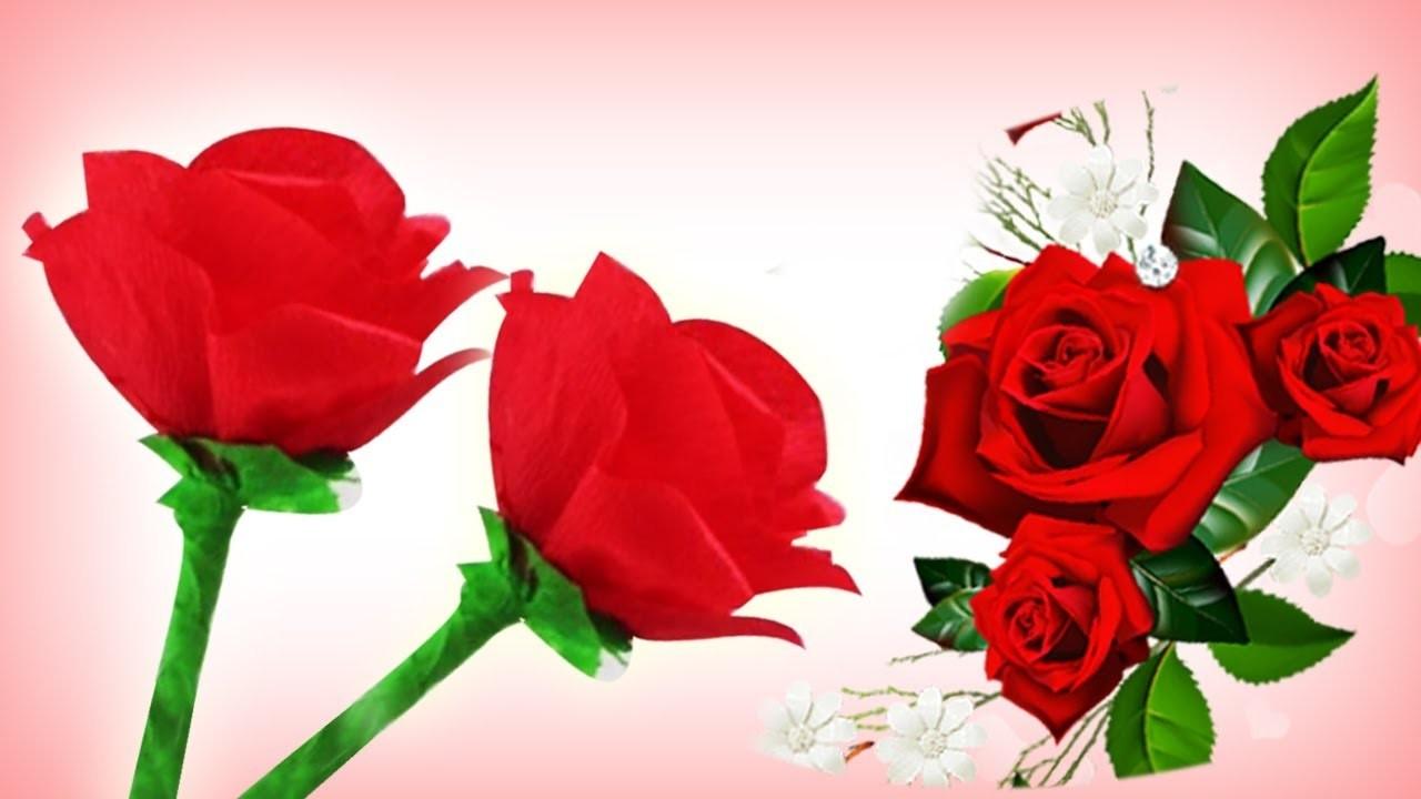 Como Hacer Rosas De Papel Crepe Faciles Manualidades De Lina