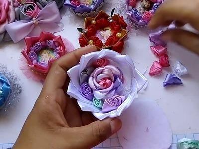 Coronitas de tela y liston. Princesas Disney.Flores de tela.Manualidades.Tutoriales.Crafts