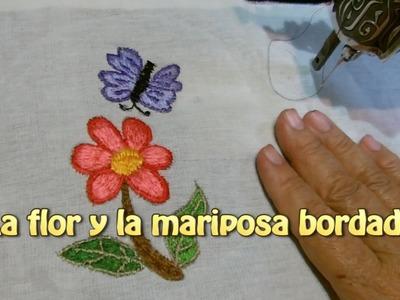 La flor y la mariposa bordado |Creaciones y manualidades angeles