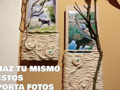 PORTA FOTOS RÚSTICO - MANUALIDADES FÁCILES DE HACER