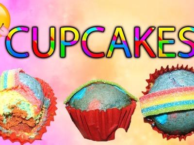 Como hacer CUPCAKES DE ARCOIRIS. Como hacer Muffins de arcoiris. Rainbow cupcakes