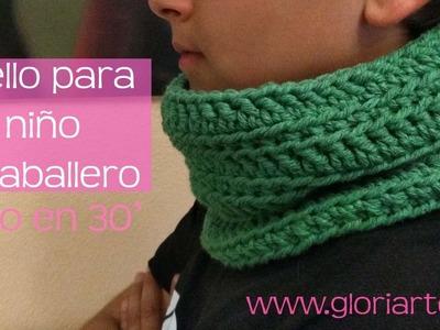 Cuello verde de ganchillo para caballero o niño. Crocheted neck or scarf for men or boys.