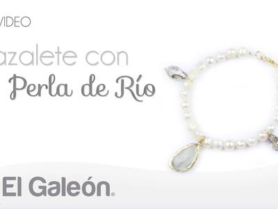 DIY El Galeón Brazalete con Perla de Río