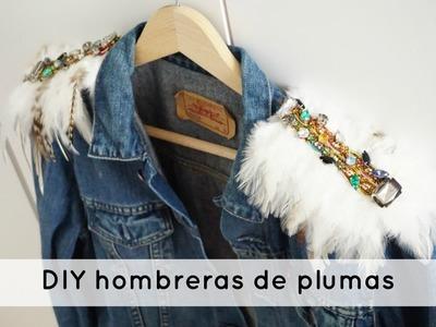 DIY hombreras de plumas