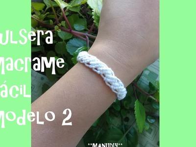 Pulsera macrame Facil. tutorial easy bracelet