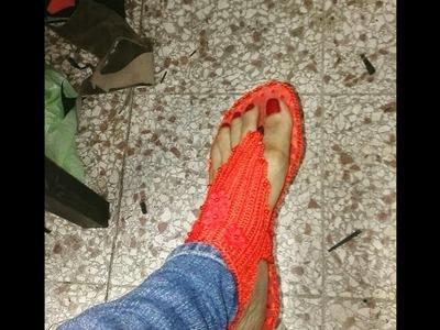 Zapato tejido a mano 3ra parte