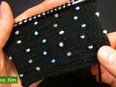 Cómo agregar perlas (abalorios, cuentas, mostacillas) Tejido con dos agujas # 527