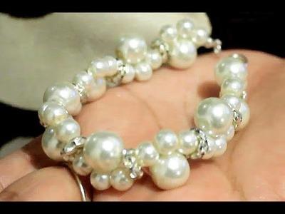 Como hacer una Pulsera de Perlas con Tejido : Pekas Creaciones