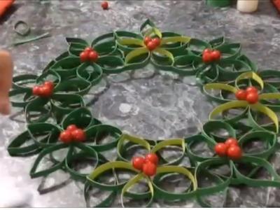 Corona navideña con tubos de papel, corona para navidad, muy fácil.