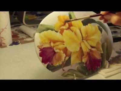 Pintura sobre porcelana: Orquídeas