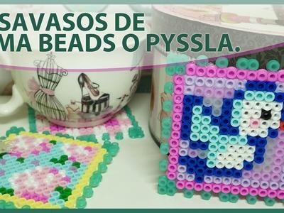 POSAVASOS HAMA BEADS, PYSSLA DE IKEA O PERLER BEADS. Manualidades fáciles, tutorial con plantilla.