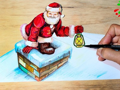 Santa Claus │How to Draw Santa Claus 3D │Como Dibujar a Papa Noel 3D