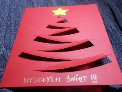Tarjeta de Navidad con el árbol de navidad.  Cómo hacer una tarjeta de Navidad ?