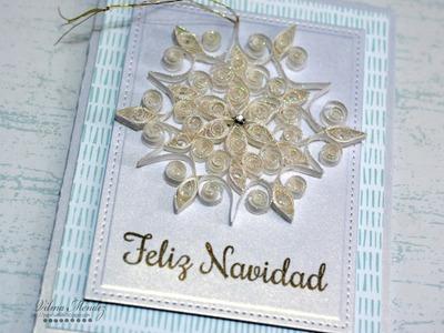 Tarjeta Feliz Navidad con la tecnica de Filigrana (Quilling)