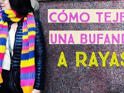 Cómo Tejer una Bufanda a Rayas en Punto Inglés y Elástico Doble - Muy Fácil *Para Principiantes*