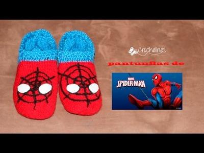 Pantunflas de spiderman muy sencillas de tejer. Crochelines