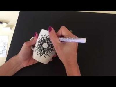 ARTESANATO COMO PINTAR | DIY | Porcelana com Mandala 03