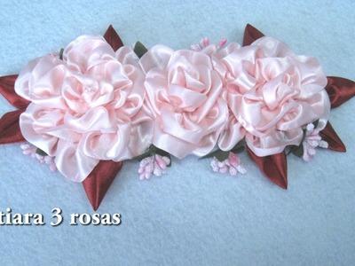 DIY -Tiara 3 rosas rosas DIY -Tiara 3 pink roses