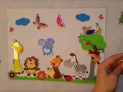 Animales de la Selva. Manualidades con Pegatinas. Vídeo Infantil Educativo.