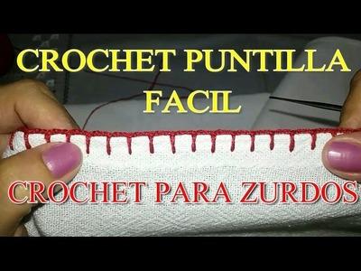 Crochet Puntilla Fácil y Simple #1Crochet para Zurdos