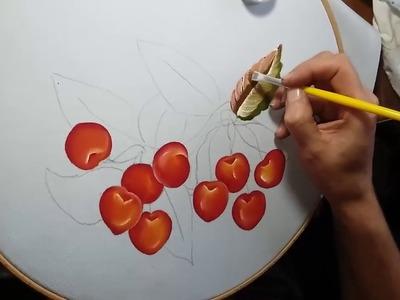 Pintando cerezas en tela 2ª Parte, con Manualidades con Eva