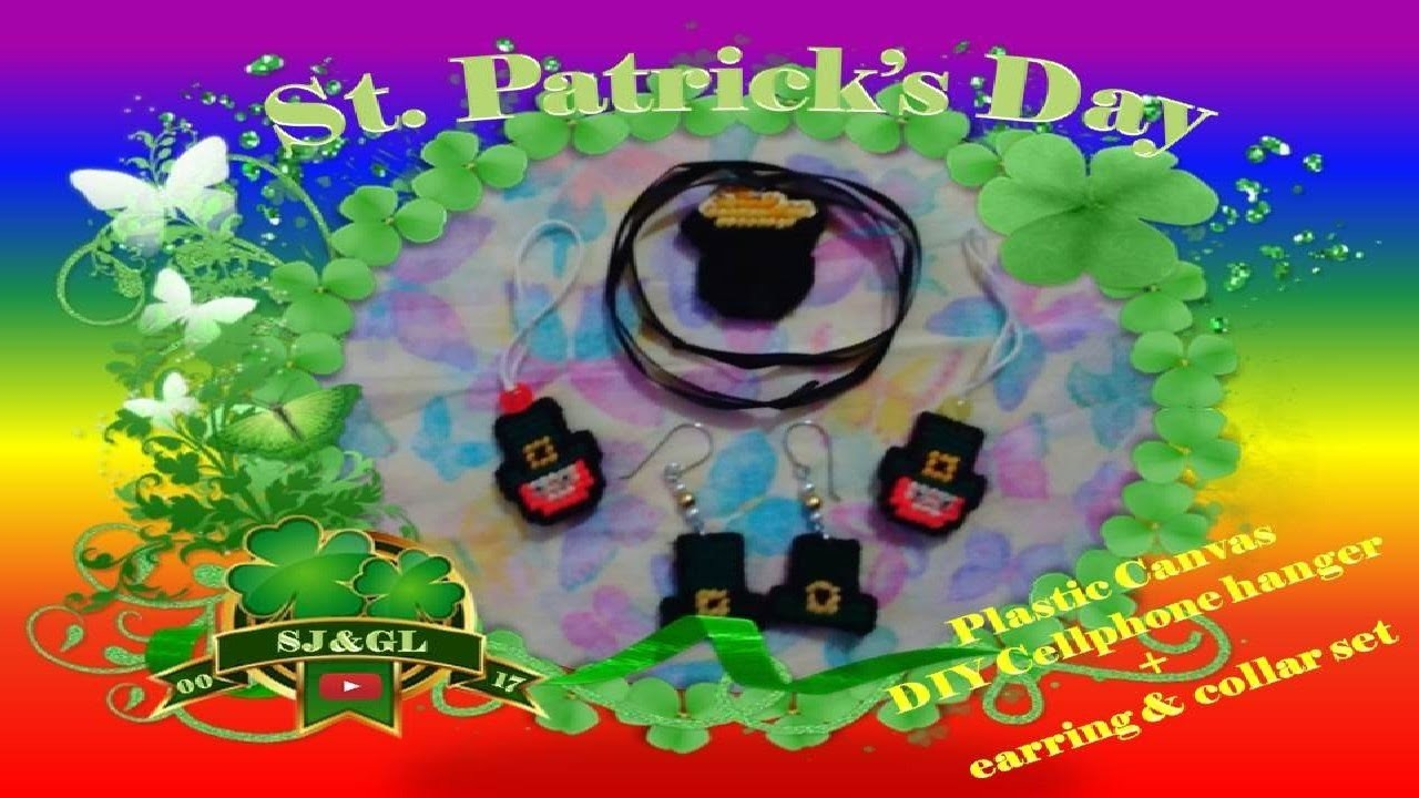 DIY St. Patrick themed cellphone hanger & earrings + necklace